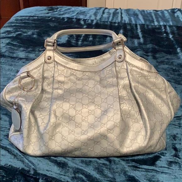 fea5321d9ae6 Gucci Handbags - Gucci Sukey Guccissima Large Silver Hobo Bag